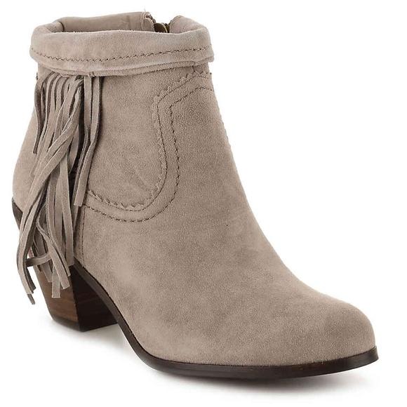 3a267dd0155e Sam Edelman Suede Louie Fringe-Trimmed Ankle Boot.  M 5b96158804e33d1c3233caa2